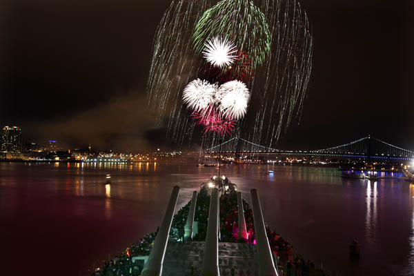 Fireworks off of the Battleship New Jersey